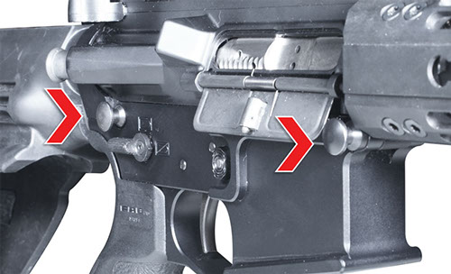 Close Up Pivot Pins on 2A Defense Rifle